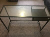 Glass topped desk /hallway furniture