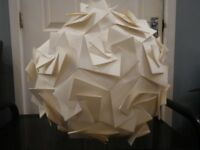 Cream card spherical lampshade with folded rosettes design