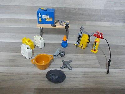 Lot old Playmobil parts - 17 pcs - garage parts tools