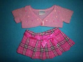 Build A Bear Tartan Skirt & Cardigan IP1