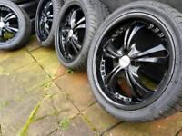 "17"" 4x100 Genuine oz alloy wheels with tyres tires jet black refurbished"