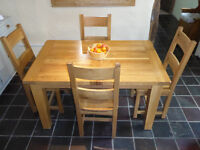 "Set of 6 Lovely ""BESP-oak"" solid light oak ladder-back wooden dining chairs in Llangwm"