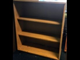 Heavy Solid Wooden Bookcase Shelving H120cm x W100cm x D43cm Beech Colour