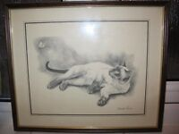 Print Picture Hanging Siamese Cat drawing by Deborah Poynton with Butterfly Framed Home Decor
