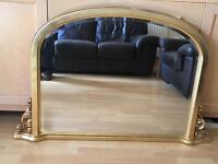 Gold Framed Bevel Edged Fire Place Mirror