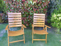 Garden chairs, solid wood, four position reclining, folding, as new