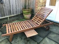 Wooden Adjustable Sun Lounger with slide out tray and Cushion. Fantastic condition