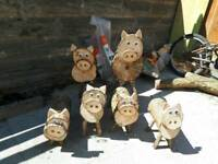 Hand made wooden pigs