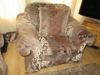 Three Sofas (with Pouffe) 1 Seater, 2 Seater and 3 Seater