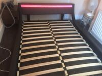 Italian Designer Brown Faux Leather Bed with LED Strip 5ft