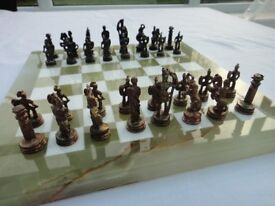 Chess Set Metal Figures on Marble Board Very Good Condition