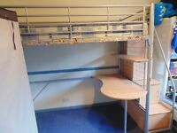 Bunk bed, desk, storage drawers, futon and chair