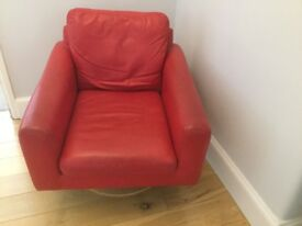 Red Leather Swivel Armchair, John Lewis