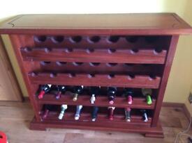 Solid wooden Iroko wine rack