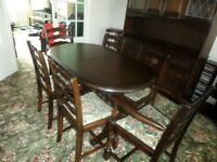 PRIORY SOLID OAK TABLE AND SIX CHAIRS AS NEW