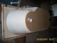 Shower Bath P Shaped ( RHS facing taps) White with taps, waste , panel and fit kit good condition
