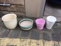 4 x Assorted Plant Pots - all ceramic, no plastic - as seen in image.