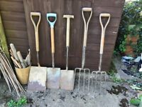 Vintage Antique Gardening Tools Spades Forks Shovel