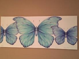 Blue butterflies canvas