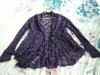 Purple Crochet Jacket / Top (M)