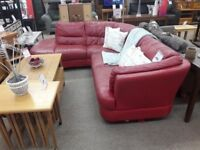 Red Leather L-Shaped Corner Sofa