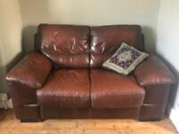 Stylish 2 seater brown leather sofa settee