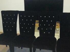Black Velvet Chairs with Diamonds