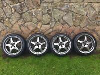 "17"" Alloy Wheels and tyres. 4x114.3 pcd. Honda/Mazda/Nissan/Toyota/Jap/Drift"