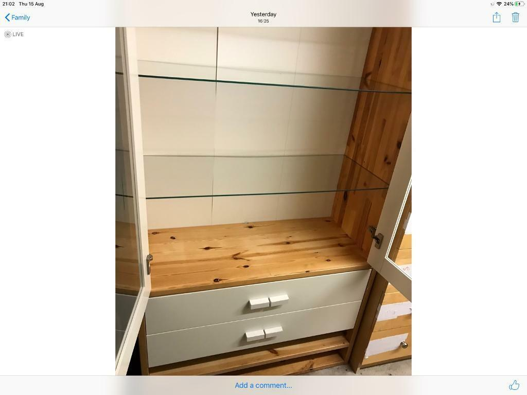 Remarkable Reduced Ikea Cabinet Two Drawers Glass Doors And Shelves Storage Space In Blyth Northumberland Gumtree Download Free Architecture Designs Viewormadebymaigaardcom