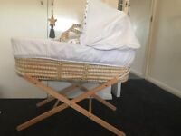 White Wicker Moses basket & stand