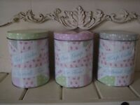 Set of 3 shabby chic storage tins for the kitchen. Tea, coffee & sugar. Pretty pastel colours.