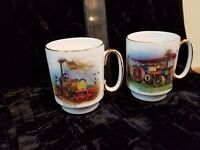 2 Bone China Mugs - with Steam Engines - good condition