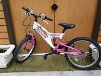 Girls pink and white bike