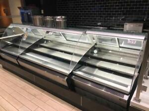 Deli closed ! 3 curve glass matching deli / meat display fridge coolers ( like new ) 11ft total all for only $8,000!