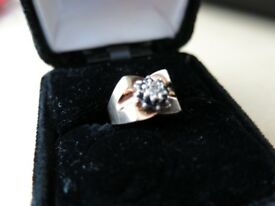 Ladies 9 Carat YELLOW and WHITE GOLD Diamond and Sapphire RING