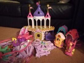 My little pony castle, train & ponies