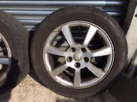 JAGUAR x-type ORIGINAL ALLOYS with 3 VERY GOOD TYRES.