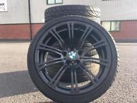 GENUINE BMW M3 E90 E92 E93 19INCH 220M SPORT SATIN BLACK ALLOY WHEELS WITH TYRES