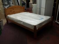 solid pine 4 foot wide double bed with 8 inch thick silentnight mattress