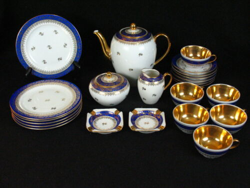 Stunning Antique Schonwald 202 Porcelain Cobalt Blue and Gold Tea set for 6