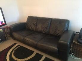 2 seater leather recliner and 3 seater leather sofa