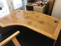 Oak and Walnut inlaid executive office desk