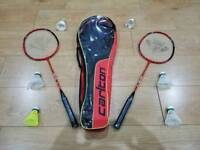 Carlton badminton rackets with carry case and 6 shuttlecocks