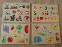 Peg Puzzle (selection of 4 kids peg puzzle boards)