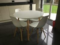 MODERN WHITE DINING TABLE AND 4 BUCKET CHAIRS