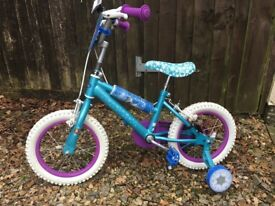 "Girls 14"" bike with stabilisers"
