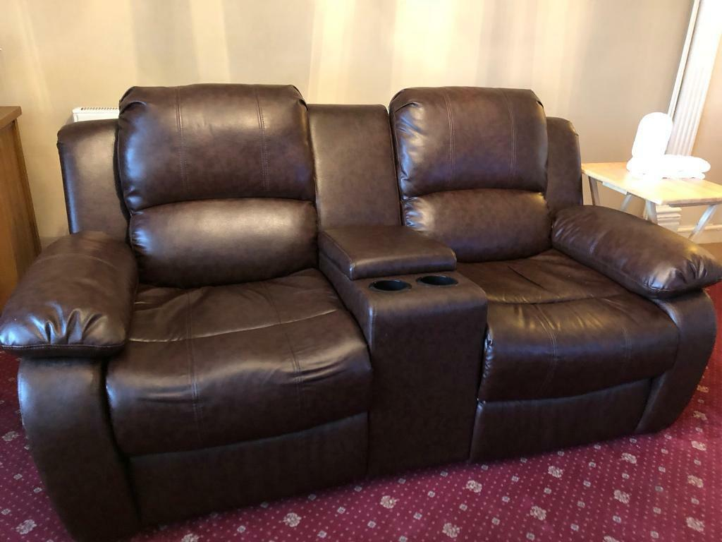 Amazing Two Seater Recliner Brown Leather With Middle Console In Hednesford Staffordshire Gumtree Gmtry Best Dining Table And Chair Ideas Images Gmtryco