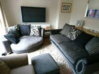 Dfs Black/Silver 3/4 Sofa, Cuddle Chair & Storage Footstool Set, Like New, DELIVERY AVAILABLE