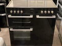 belling electric range cooker 90cm black ceramic 3 months warranty free local delivery