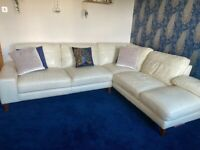 Beautiful cream leather corner sofa